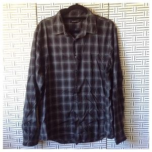 John Varvatos Gray Plaid Men's Button Down Shirt